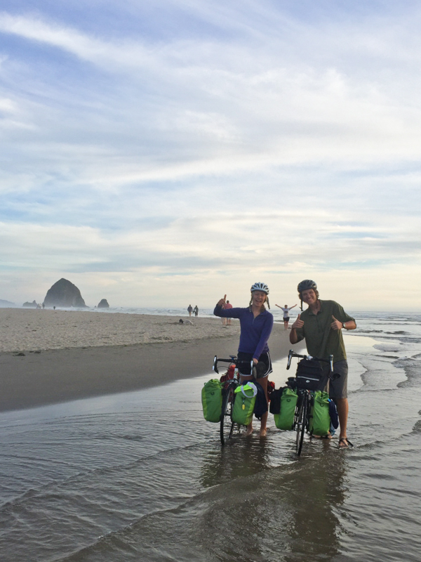 Celebrating in the Pacific Ocean after biking across America in 57 days! Image from bikesoveramerica.wordpress.com